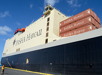 Shipping Containers stacked on top of Pasha Hawaii's MV Marjorie C vessel before departure to Hawaii.