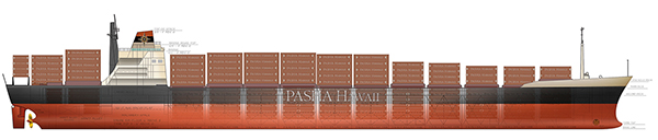 Pasha Hawaii's Enterprise Vessel ships thousands of containers per month to and from Hawaii