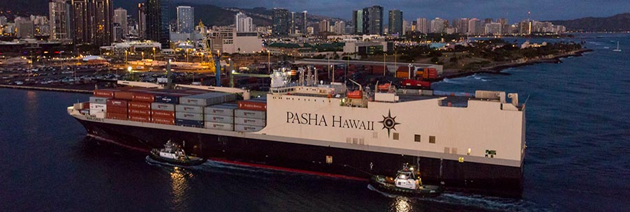 Marjorie C enters Honolulu Harbor at twilight