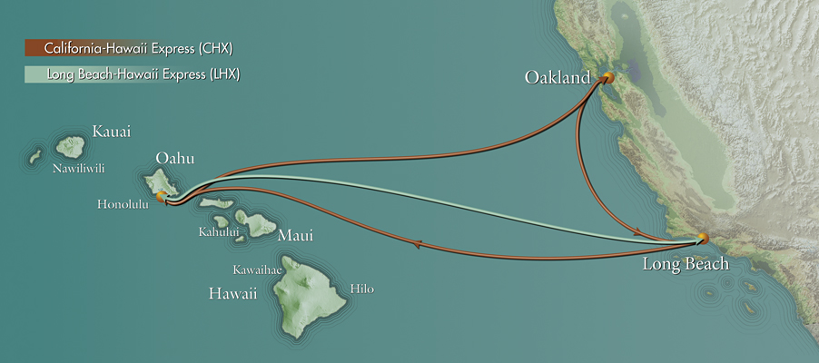 Pasha Hawaii's express routes for shipping containers between Mainland US and Hawaii