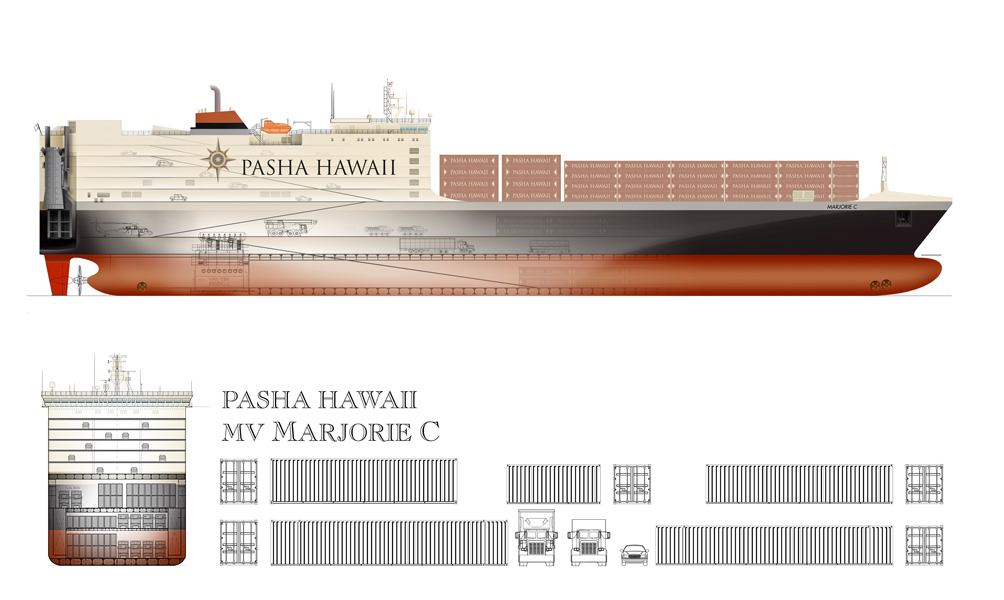 Pasha Hawaii's MV Marjorie C Vessel ships thousands of containers and vehicles per month to  Hawaii