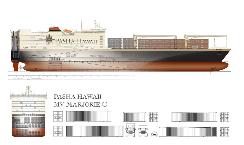 Marjorie C ConRo Vessel. Courtesy of Pasha Hawaii.
