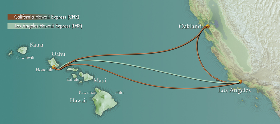 Pasha Hawaii container shipping routes to and from Hawaii