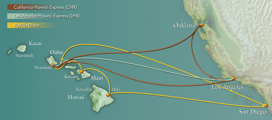 Pasha's container shipping and vehicle shipping routes between Mainland US and Hawaii