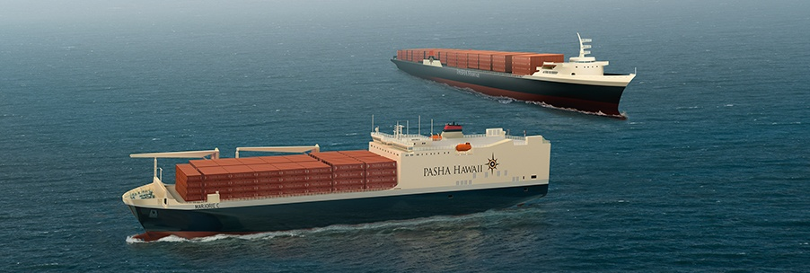 Pasha's Container Shipping Vessel Marjorie C can transport containers, vehicles and oversize cargo to Hawaii